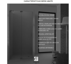 Mampara de baño Castel Abate Características