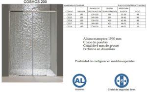 Mampara de baño Castel Cosmos 200