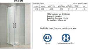 Mampara de baño Castel Eco 600