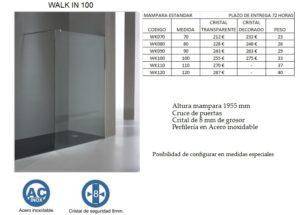Mampara de baño Castel Walk In 100