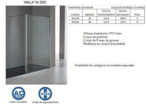 Mampara de baño Castel Walk In 200