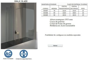 Mampara de baño Castel Walk In 400